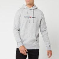 Tommy Jeans Men's Straight Logo Hoodie - Light Grey Heather - L