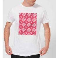 Boombox Pattern Pink Men's T-Shirt - White - L - White