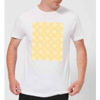 Floppy Disc Pattern Yellow Men's T-Shirt - White - S - White