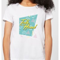 Talk To The Hand Square Patterned Background Women's T-Shirt - White - L - White