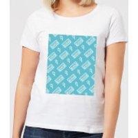 VHS Tape Pattern Blue Women's T-Shirt - White - 4XL - White