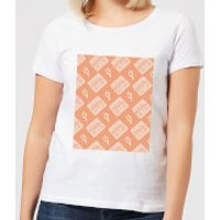 Boombox Pattern Orange Women's T-Shirt - White - L - White