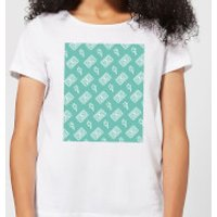 Cassette Tape Pattern Green Women's T-Shirt - White - M - White