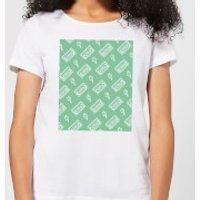 VHS Tape Pattern Green Women's T-Shirt - White - M - White