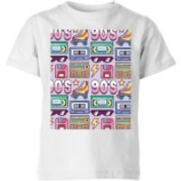 90's Product Tiled Pattern Kids' T-Shirt - White - 7-8 Years - White