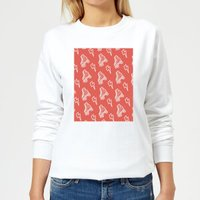 Roller Skate Pattern Red Women's Sweatshirt - White - M - White - Red Gifts