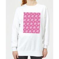Cassette Tape Pattern Pink Women's Sweatshirt - White - XXL - White