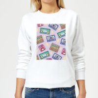 90's Product Scattered Pattern Women's Sweatshirt - White - XXL - White