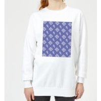 Floppy Disc Pattern Purple Women's Sweatshirt - White - XS - White - Purple Gifts