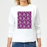 Roller Skate Pattern Purple Women's Sweatshirt - White - XS - White - Purple Gifts