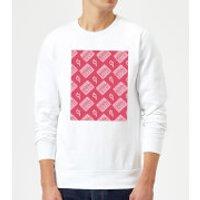 Boombox Pattern Pink Sweatshirt - White - L - White