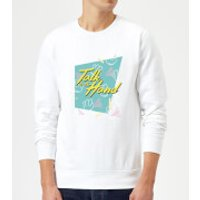 Talk To The Hand Square Patterned Background Sweatshirt - White - XXL - White