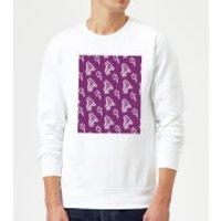 Roller Skate Pattern Purple Sweatshirt - White - M - White - Purple Gifts