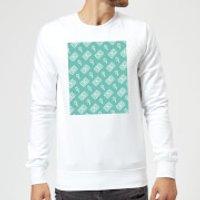 Cassette Tape Pattern Green Sweatshirt - White - XXL - White