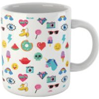 White 80s Stickers Mug - 80s Gifts