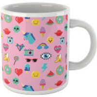 Pink 80s Stickers Mug - 80s Gifts