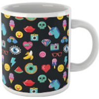 Black 80s Stickers Mug - 80s Gifts