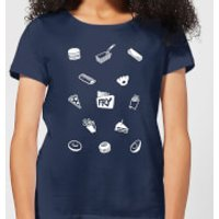 Does It Fry Pattern Women's T-Shirt - Navy - S - Navy