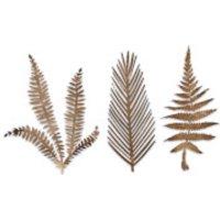 Nkuku Kiko Brass Foliage Artwork - Large - Matt Brass (Set of 3)