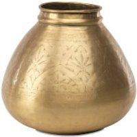 Nkuku Nami Antique Round Brass Pot