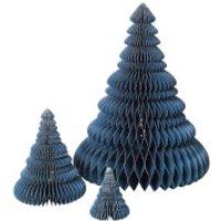 Broste Copenhagen Paper Christmas Tree Decoration (Set of 3) - Orion Blue