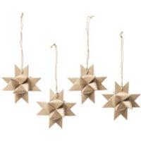 Broste Copenhagen Paper Star Decorations (Set of 4) - Natural