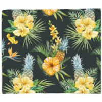 Pineapple And Tropical Flowers Fleece Blanket - Pineapple Gifts
