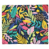 Dark Leaf Pattern Fleece Blanket