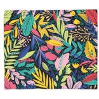 Dark Leaf Pattern Fleece Blanket