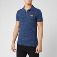Superdry Men's Orange Label Jersey Short Sleeve Polo Shirt - Navy Fleck - S