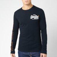 Superdry Men's Vintage Logo Linear Long Sleeve T-Shirt - Eclipse Navy - XL