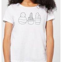 Hand Drawn Cacti Women's T-Shirt - White - XS - White