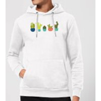 Cacti In A Row Hoodie - White - S - White