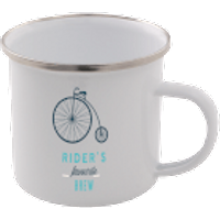 Rider's Favourite Brew Enamel Mug – White - Mug Gifts