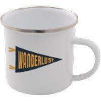 Wanderlust Enamel Mug – White - Mug Gifts
