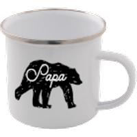 Papa Bear Enamel Mug – White - Mug Gifts
