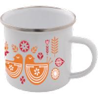 Scandi Bird Print Enamel Mug – White - Mug Gifts
