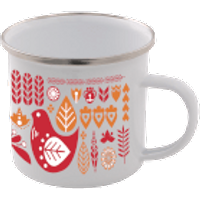 Colourful Scandi Enamel Mug – White - Mug Gifts