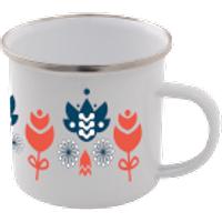 Colourful Flower Scandi Print Enamel Mug – White - Mug Gifts