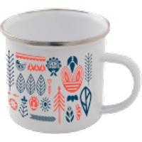 Flower All Over Scandi Print Enamel Mug – White - Mug Gifts