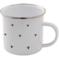 Bee Pattern Enamel Mug – White - Mug Gifts
