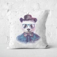 Hipster Panda Square Cushion - 50x50cm - Soft Touch