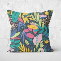 Colourful Leaf Print Square Cushion - 60x60cm - Soft Touch