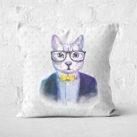 Hipster Cat Square Cushion - 60x60cm - Soft Touch - Hipster Gifts