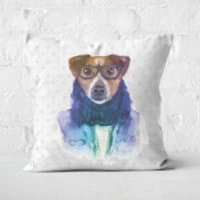 Hipster Dog Square Cushion - 60x60cm - Soft Touch - Hipster Gifts