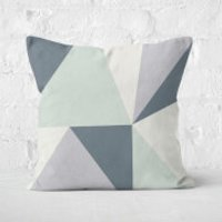 Grey Geometric Shapes Square Cushion - 50x50cm - Soft Touch
