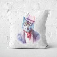 Hipster Wolf Square Cushion - 60x60cm - Soft Touch - Hipster Gifts