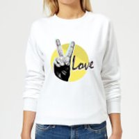 Peace Love With Circular Background Women's Sweatshirt - White - XXL - White