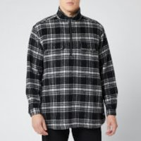 White Mountaineering Men's Check Shaggy Big Pullover Shirt - Black - M
