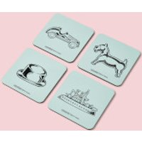 Monopoly Pieces Letterpress Coaster Set